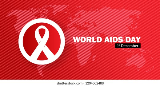 World Aids Day banner concept with map, ribbon, and red color
