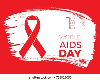 world aids day banner layout design witx text and ribbon on brush stroke background