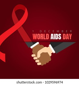 World Aids day celebration medical with red ribbon on a red background. Vector Illustration