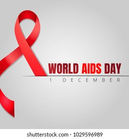 World Aids day celebration medical with red ribbon on a grey background. Vector Illustration