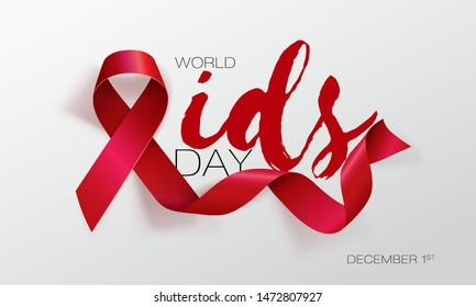 World Aids Day concept. Aids Awareness. Realistic Red Ribbon. Calligraphy Poster Design. Vector. Illustration