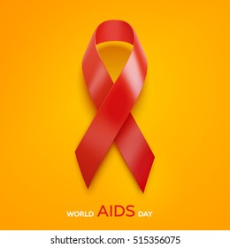 World Aids Day concept. Aids Awareness Red Ribbon. 1st December. Vector Illustration