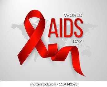 World Aids day concept. Realistic awareness red ribbon on grey map background. Vector illustration