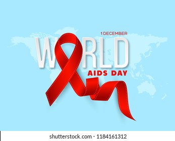 World Aids day concept. Realistic awareness red ribbon with 3d text on blue map background. Vector illustration
