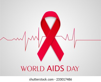 World Aids Day concept with red ribbon of aids awareness and cardiogram.