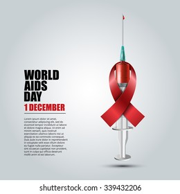 World Aids Day concept with syringe and red aids awareness ribbon Vector illustration.