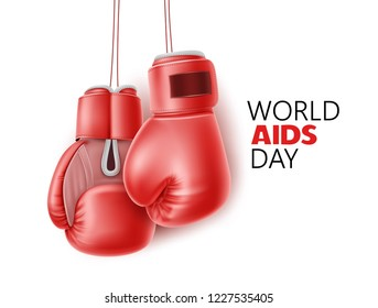 World AIDs day fight poster. Immunodeficiency syndrome awareness, HIV prevention symbol with realistic red boxing gloves. Sexual protection, health care support. Hope emblem. Vector illustration