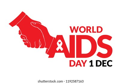 World AIDS Day. Holding hands. Aids Awareness icon design for poster, banner, t-shirt. Vector illustration isolated on white background.