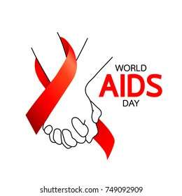 World AIDS Day. Holding hands with Red ribbon. Aids Awareness icon design for poster, banner, t-shirt. Vector illustration isolated on white background.