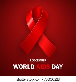 World AIDS Day, realistic red ribbon, symbol of peace, symbol of the day of December 1, vector illustration.