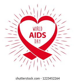 World aids day red ribbon vector illustration. 1st December awareness world day. HIV and AIDS ribbon symbol or emblem badge vector background design template for banner or poster. Stop AIDS