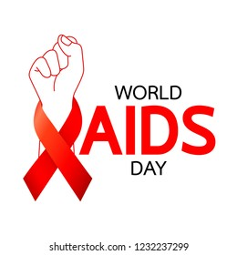 World AIDS Day. Red ribbon with handful. Aids Awareness icon design for poster, banner, t-shirt. Vector illustration isolated on white background.