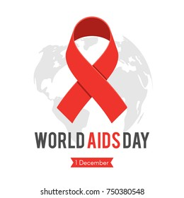 World AIDS day, red ribbon on world map background. Stop Aids banner, concept awareness label. Vector illustration in flat cartoon style isolated on white background