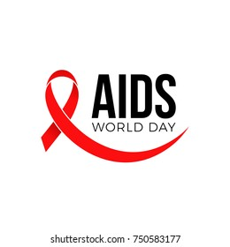 World AIDS day red ribbon icon symbol or logo badge. Vector 1 December HIV and AIDS awareness ribbon emblem design template on white background for banner or poster.