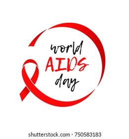 World AIDS day red ribbon icon. Vector 1 December HIV and AIDS awareness ribbon symbol or emblem badge white background for banner or poster.