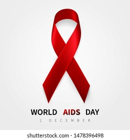 World aids day symbol, 1 december. Realistic red ribbon symbol. Medical Design. Vector illustration.