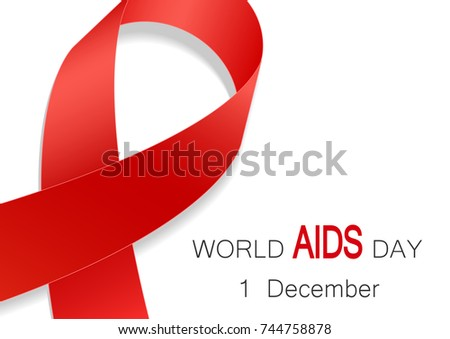 World Aids Day Symbol Realistic Red Stock Vector Royalty Free