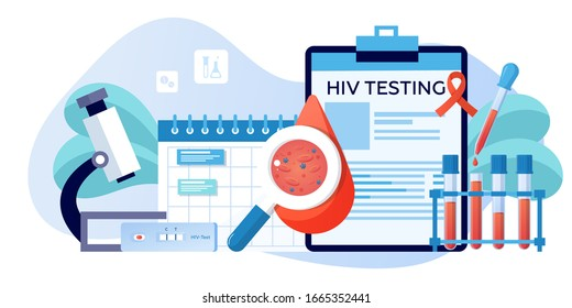 World AIDS Day1 December, red ribbon. Aids,and HIV awareness. Test for HIV, tube and dropper with blood samples. Blood clinical laboratory analysis. Banner, flyer, landing page template