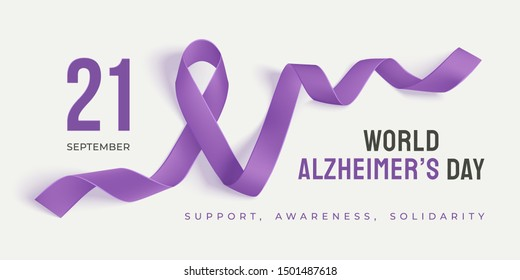 World Alzheimer's day banner with ribbon on a light background. Purple ribbon day