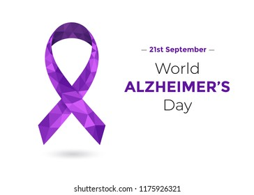 World Alzheimer's Day (September 21) concept with purple awareness ribbon. Colorful vector illustration for web and printing.