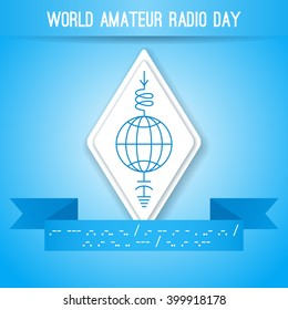 World Amateur Radio Day. Blue and white vector illustration. Ham radio symbol, circuit diagram with antenna, inductor and ground. Morse code
