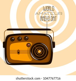 World Amateur Radio Day. Retro radio and radio waves