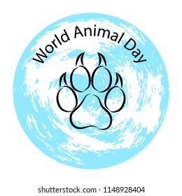World Animal Day. 4 October. The concept of an ecological holiday. Animal track and planet Earth