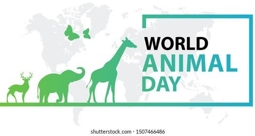 World Animal Day on October 4. Vector illustration.