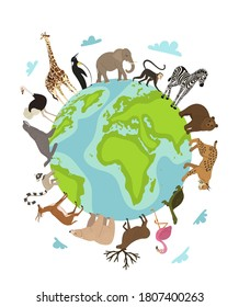 World animal day. Vector earth globe planet and wild animal around on white. Wildlife sanctuary, shelter promotion. Worldwide continent fauna saving from extinction. World environment day illustration
