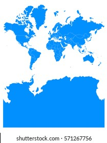 world Antarctica blue map