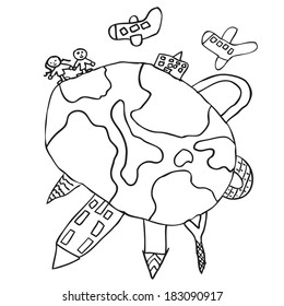World around doodle kids drawing