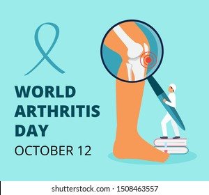 World arthritis day in October. Tiny doctors treat rheumatism, osteoarthritis. Healthcare flat concept vector on the blue background for landing page, banner, app.
