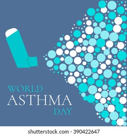 World Asthma Day awareness concept with a spray inhaler. Disease solidarity day. Vector illustration.
