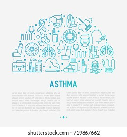 World asthma day concept in half circle with thin line icons: air pollution, smoking, respirator, therapist, inhaler, bronchi, allergy symptoms and allergens. Vector illustration for banner, web page.