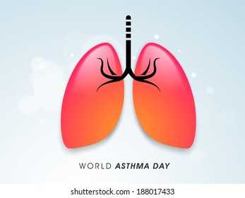 World Asthma Day concept with healthy lungs on shiny blue background.