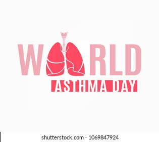 World asthma day. Logotype concept. Beautiful vector illustration with lungs isolated on a white background. Editable image in light pink colors