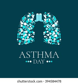 World Asthma Day. Vector illustration of inhalers and lungs filled with air bubbles on dark background. Bronchial disease awareness sign.