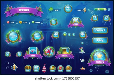 World of Atlantis - vector illustration set button to the computer game. Bright background image to create original video or web games, graphic, screen savers. For design, websites, printing, video, i