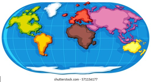 World Atlas With Seven Continents Illustration