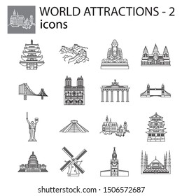 World Attractions icon line, linear vector set. Black signs, symbols. Icons for tourism. Set of stylish icons on a white background.