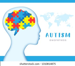 World autism awareness day. Brains with colorful puzzles. Child. Face. Vector background. Symbol of autism. Medical flat illustration. Health care