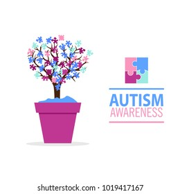 World Autism Awareness Day. Card or poster template with symbol of autism. Emblem made from puzzle pieces and autism tree.