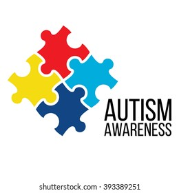 World Autism Awareness Day. Card or poster template with symbol of autism. Emblem made from puzzle pieces and autism colors. Vector flat illustration on white background.