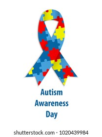 World autism awareness day. Colorful puzzle ribbon