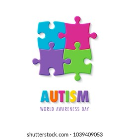World autism awareness day. Colorful puzzle sign. Symbol of autism. Vector Illustration