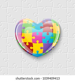 World autism awareness day. Colorful glass heart made of puzzle pieces. Symbol of autism. Vector Illustration