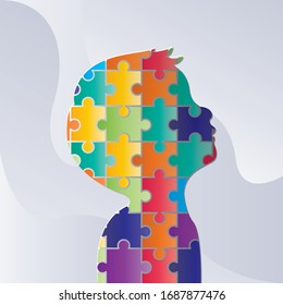World autism awareness day. colorful puzzles vector background. Symbol of autism. Medical flat illustration. Health care ,banner or poster of World autism awareness day.