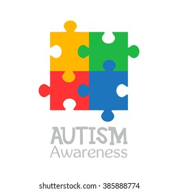 World autism awareness day. Colorful puzzle vector design sign. Symbol of autism. Medical flat illustration. Health care