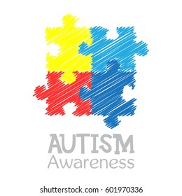 World autism awareness day. Colorful puzzle vector design hand drawn sign. Symbol of autism. Sketch. Medical flat illustration. Health care