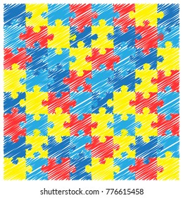 World autism awareness day. Colourful puzzle vector design hand drawn background. Symbol of autism. Sketch. Medical flat illustration. Health care